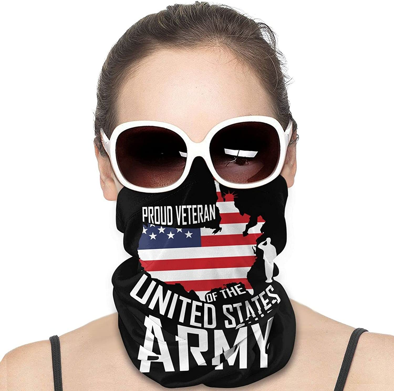 PROUD VETERAN OF THE UNITED STATES ARMY Round Neck Gaiter Bandnas Face Cover Uv Protection Prevent bask in Ice Scarf Headbands Perfect for Motorcycle Cycling Running Festival Raves Outdoors