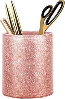 WAVEYU Pen Holder, Pencil Cup Desk Glitter Bling for Women Girls, Luxury Makeup Brush Holder Large Pu Leather Multi-Functional Organizer Cup, Gift for Office, Classroom, Home, Rose Gold