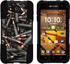 TurtleArmor | Compatible with Kyocera Hydro Wave Case | Hydro Air Case [Gel Max] Impact Proof Cover Hard Kickstand Hybrid Shock Silicone Shell Military War Camo - Black Bullets