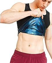 NOVECASA Sauna Vest Heren Premium Polymeer Shapewear Spier Hemd Kostuums voor Fitness Zweet Training (L/XL(Taille 100-110CM))