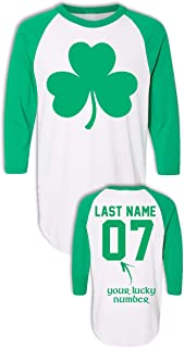 Custom Saint Patrick's Day Shirts - Add Your Name & Number - Long Sleeve Raglans