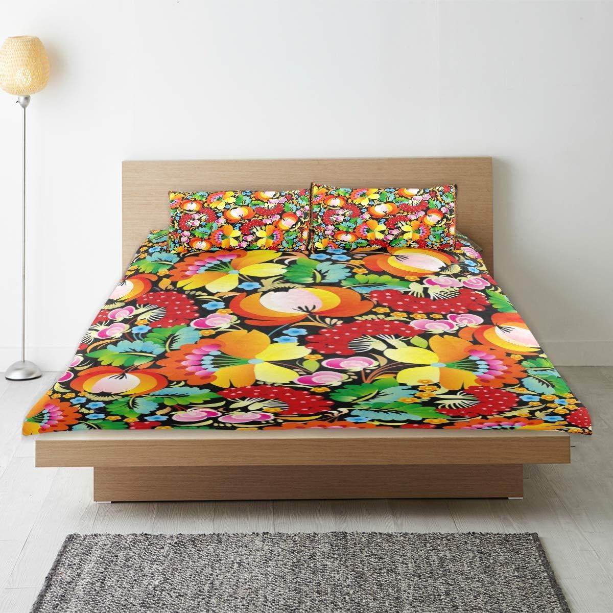 Bennifiry Parure de lit 3 pièces avec Housse de Couette et 2 taies d'oreillers Motif Colibri, Multi#003, Taille Unique Multi#002