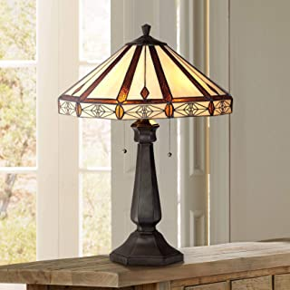 Mission Table Lamp Bronze Octagonal Art Glass Shade for Living Room Family Bedroom Bedside Nightstand Office - Robert Louis Tiffany