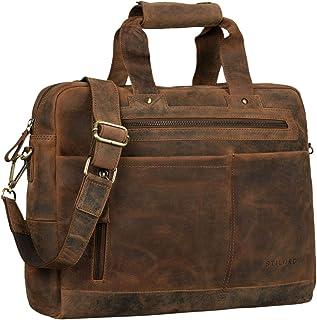 """STILORD Patrice"""" Große Leder Umhängetasche Herren Vintage Schultertasche für DIN A4 Ordner Businesstasche mit 15.6 Zoll Laptopfach Trolley aufsteckbar"""