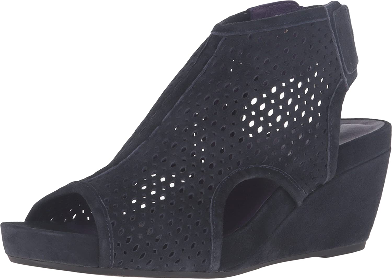 VANELi Inez Navy Suede Gunmetal Studs Women's Wedge shoes