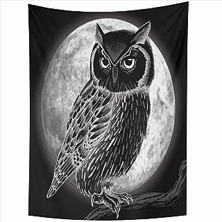 e232ff5c1 Ahawoso Tapestry Wall Hanging 50x60 Inches Branch Sketch Owl Moon Night  Full Bird Black Moonlight Home