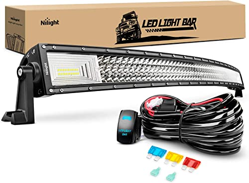 2021 Nilight wholesale ZH408 52Inch 783W Curved sale Triple Row Flood Spot Combo Beam Led Bar 78000LM Driving Lights with 12AWG Heavy Duty 12V 5Pin Rocker Switch Wiring Harness Kit-1 Lead outlet sale