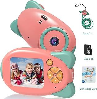 Vannico Camara de Fotos para Niños Camara para Niños Cámara Digital 1080P HD Video Niña 3-10 Años16GB Tarjeta SD y Acollador (Rosa)