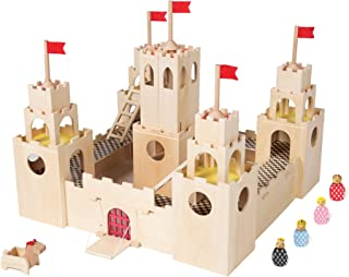 MiO Wooden Castle + Horse + 4 Bean Bag People Peg Dolls Imaginative Montessori Style STEM Learning Modular Wooden Building Playset for Boys and Girls 3 Years + Up by Manhattan Toy