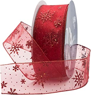 Royal Imports Red Organza Glitter Wired Sheer Ribbon - Red Edge, 2.5