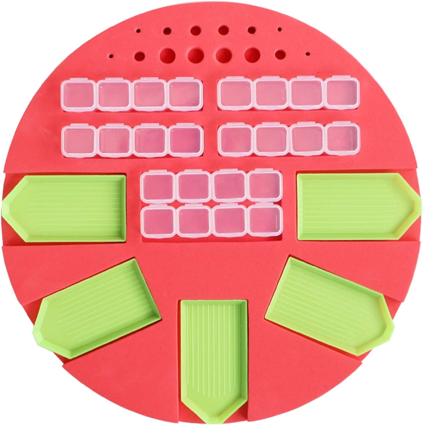 YOLOPARK Diamond Painting Accessories Tray Organizer,5 Slot Trays Round Holder for Tray Containers and Drill Pens A 5D Diamond Painting Tools Kits