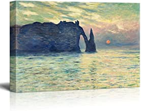 wall26 The Cliff, Etretat, Sunset by Claude Monet - Canvas Print Wall Art Famous Painting Reproduction - 12
