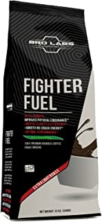 Pre Ground Coffee Blend - Fighter Fuel - Peak Performance Light Roast Premium Arabica Coffe + 250mg Korean Red Panax Ginseng Root Extract Powder Per Serving! By Bro Labs & Brandon Carter