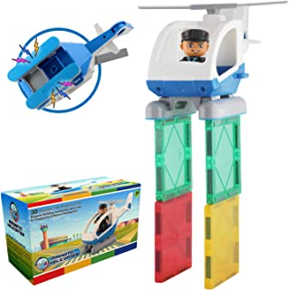 Flying Helicopter Toy Police Set with Magnets – Policeman Toys Add on Sets for Magnetic Blocks – Magnetic Tiles Expansion ...