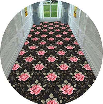Hallway Runner Rug Long Runner Rugs Corridor Carpet Geometric Floral Pattern Polyester Material Cuttable Carpet Ideal for Corridors and Stairs Multiple Sizes Customizable (Color : A, Size : 1X5M)