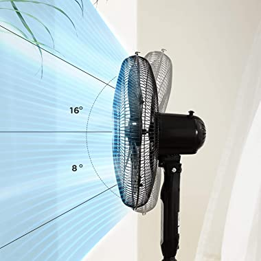 PELONIS 16'' Pedestal Remote Control, Oscillating Stand Up Fan 7-Hour Timer, 3-Speed and Adjustable Height, PFS40A4BB