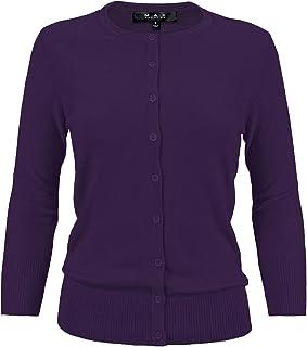 YEMAK Women's 3/4 Sleeve Crewneck Button Down Knit Cardigan Sweater (S-3X)