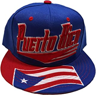 Puerto Rico Two Tone Flag Design Brim Flat Style Snapback Cap Royal Blue/Red