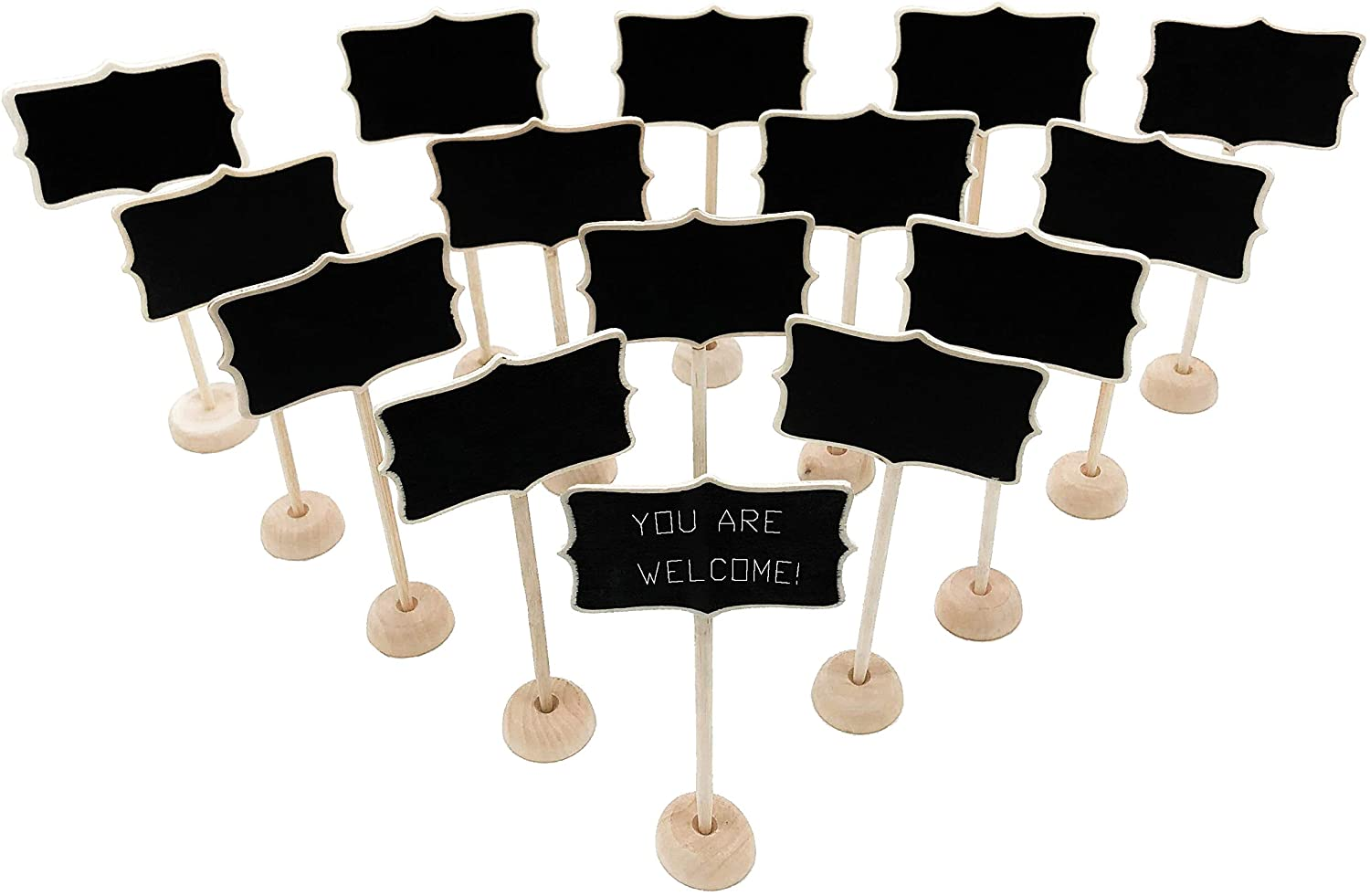 15 Pack Wood Mini Chalkboard Signs with Place National products Ca Gifts Support Easels