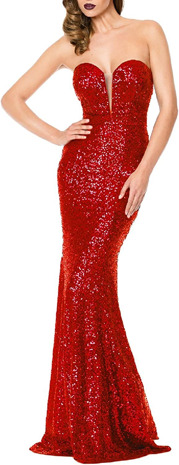 LOKEY Women's Mermaid Sweetheart Sequined Formal Long Evening Gown Prom Dress LK006