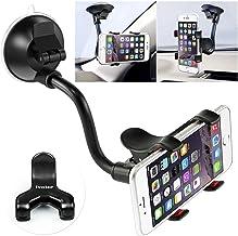 ivoler 360°Support de Téléphone Support Voiture Universal Ventouse Long Bras Support Pare-Brise Holder Smartphone pour Telephone - Noir/Rouge