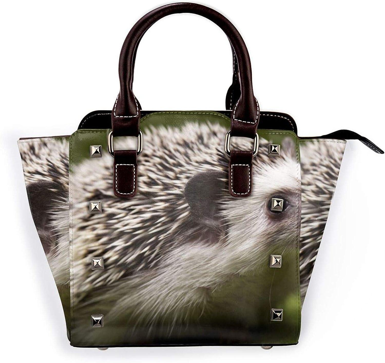 Womens Pu Leather Rivet Shoulder Bag Small Printed Spasm price Hedgehog Tote Max 87% OFF