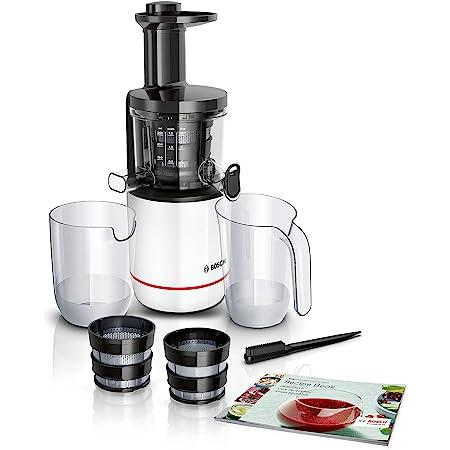 Bosch VitaExtract MESM500W – Extracteur de jus avec 2 filtres pour des jus et smoothies délicieux de fruits et légumes – 150 W – Livre de 30 recettes inclus – Couleur : blanc