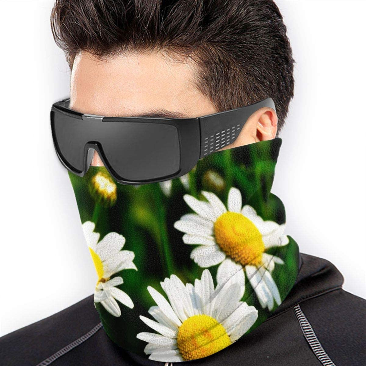 SLHFPX Neck Gaiter Face Mask Chrysanthemum Daisies Floral Flowers Half Balaclava Ski Masks for Women Men Adult