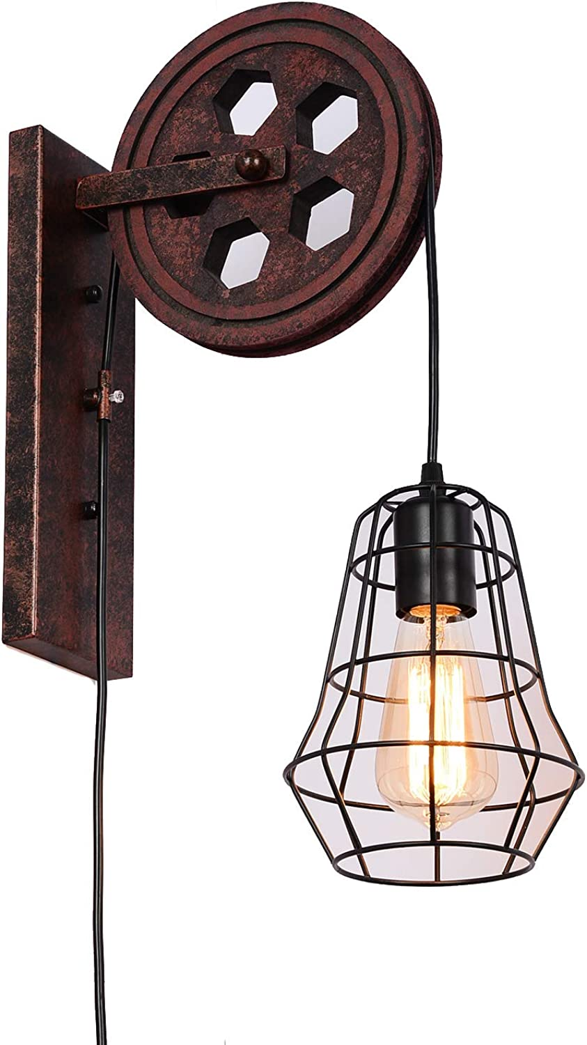 SUNWE Industrial Retro Iron Wall Lamp Creative Personality Lift Pulley Wall Lamp (MK-II)