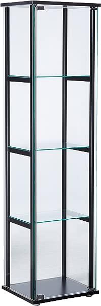 4 Shelf Glass Curio Cabinet Black And Clear