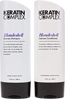 Keratin Blondeshell Debrass & Brighten Purple Shampoo & Conditioner Duo, by Keratin Complex, 13.5 ounce bottles