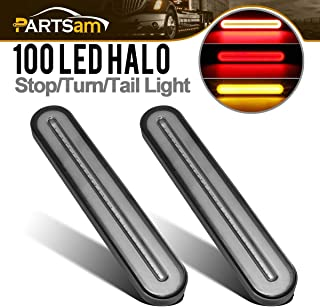Partsam 2Pcs 9 Inch Smoked Led Truck Trailer Light Bar 100LED Halo Glow Red/Amber Stop Turn Tail 3rd Brake Light Waterproof Sequential Flowing Signal Light Lamp Truck Trailer Identification Light Bar