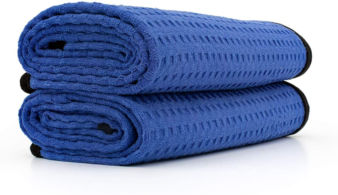 The Rag Company - Dry Me A River - Professional Korean 70/30 Blend Microfiber Waffle-Weave Drying & Detailing Towels, Soft Suede Edges, 390GSM, 20in x 40in, Royal Blue (2-Pack): Kitchen & Dining