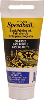 Speedball 3452 Oil-Based Block Printing Ink for Professional, Permanent Prints AP Certified 1.25 FL OZ, Blue