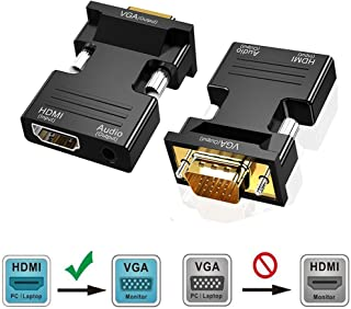 HDMI to VGA Adapter, Rumanle HDMI Female to VGA Male Converter with Audio for TV Stick, Raspberry Pi, Laptop, PC, Tablet, Digital Camera,Plug and Play