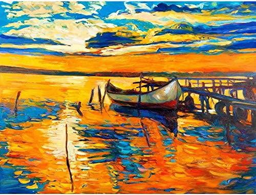 Pitaara Box Artwork of Boat & Jetty D4 Canvas Painting MDF Frame 26.5 X 20Inch