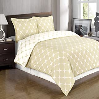 Dazzling Beige and Ivory Twin/Twin Extra Long (Twin XL) Duvet Cover Set; Comfortable 300 TC 100-percent Cotton Material in a Stylish Diamond Reversible Print