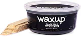 waxup Microwave Hard Wax Kit, Black Mud 7 Ounces Pot, 8 L 8 M Wax Sticks, Home Waxing, Stripless Microwaveable Hot Hair Removal Wax Men Body, Face, Eyebrow, Nose, Ear, Upper Lip, Legs, Underarms, Arms