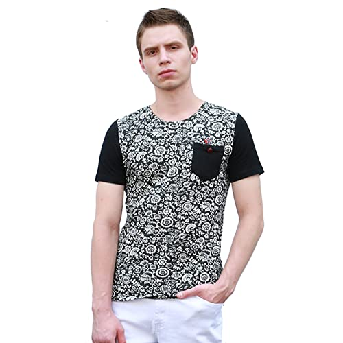 35c51beff0af uxcell Men Crew Neck Chest Pocket Floral Prints Short Sleeves T-Shirt