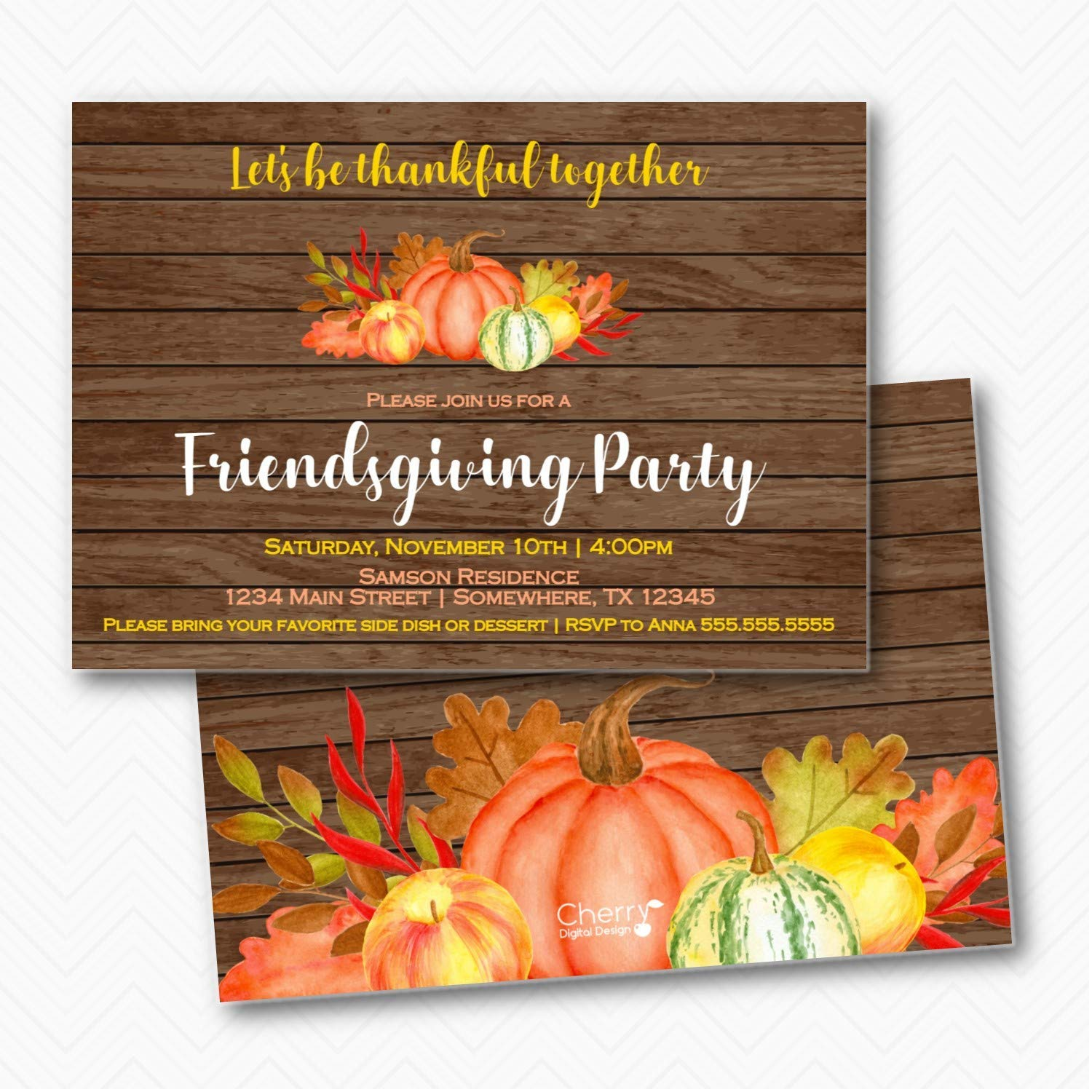 Friendsgiving Rustic Pumpkin Thanksgiving Invitations with Max 72% Limited price sale OFF Party