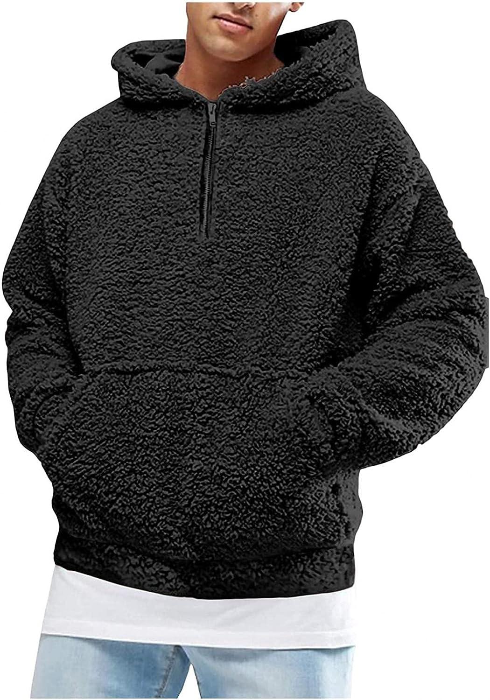 Men Fuzzy Pullover Hoodie Sweatshirt Hoodies for Men Sport Front Fall Outerwear Mens Hoodies Pullover 1/4 Zip Pullover Mens