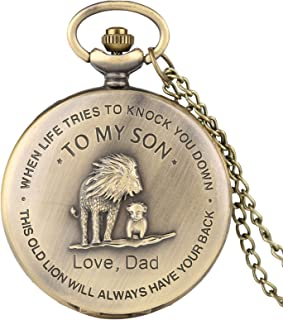 """Retro Pocket Watch,""""to My Son, Love Dad"""" Cartoon Lion King Pattern Quartz Full Hunter Pocket Watch with Chain Personalized Watch Gift"""