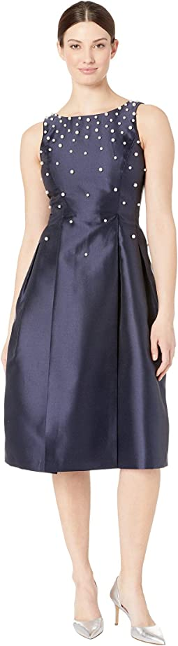 Fit and Flare Mikado Dress with Scattered Pearls