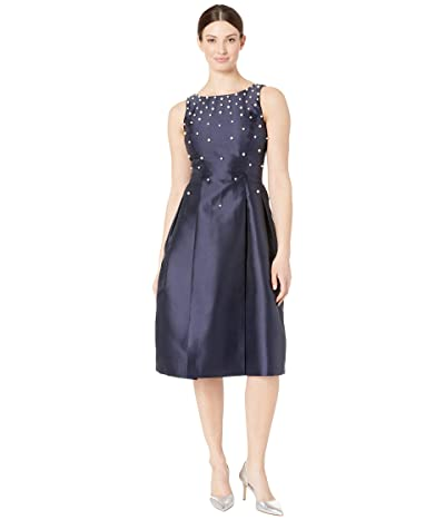 Tahari by ASL Fit and Flare Mikado Dress with Scattered Pearls (Navy) Women