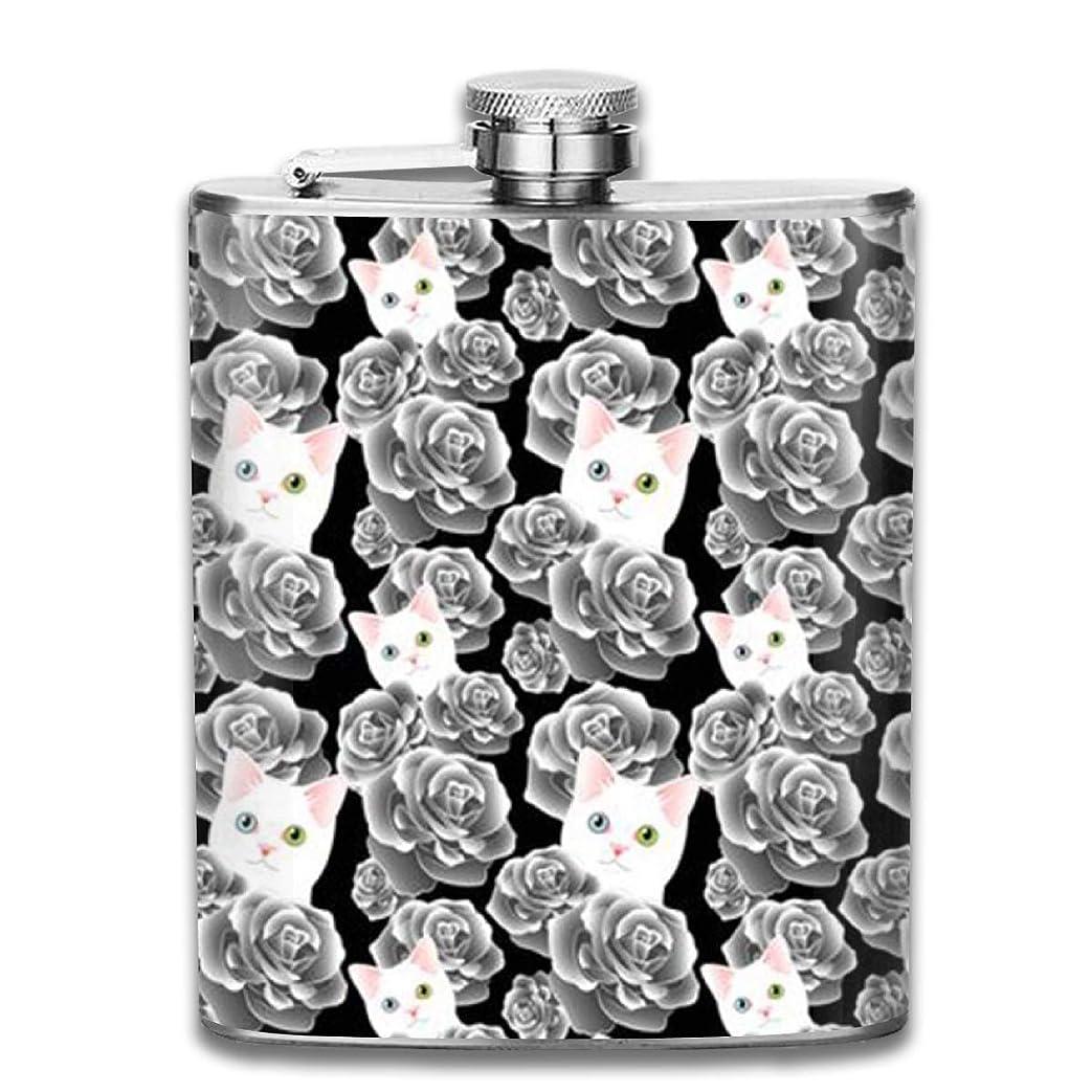 職人再編成するポーチ白猫とバラフラスコ スキットル ヒップフラスコ 7オンス 206ml 高品質ステンレス製 ウイスキー アルコール 清酒 携帯 ボトル
