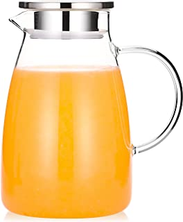 Aptspade 50 oz Water Pitcher,Glass Pitcher with Lid and Handle,Glass Water Pitcher 50 oz