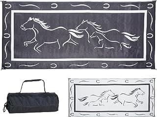 Ming's Mark GH8181 Stylish Camping Reversible Galloping Horses Patio Mat - 8' x 18', Black/White