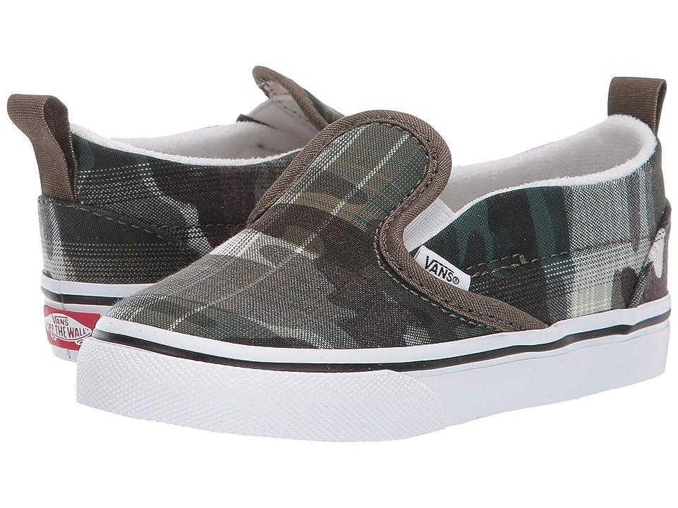 Vans Kids Slip-On V (Toddler) ((Plaid Camo) Grape Leaf/True White) Boys Shoes