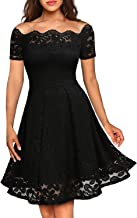 Women's Vintage Floral Lace Formal Dresses for Any Plus Size Women Boat Neck Swing Cocktail Dress for Wedding