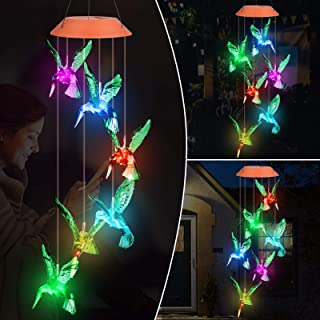 Solar Hummingbird Wind Chime Waterproof Color Changing Solar Powered LED Mobile for Home Garden Outdoor Patio Party Night ...